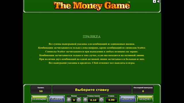 Игровой интерфейс The Money Game 1
